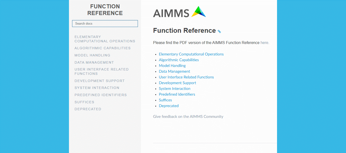 AIMMS Function Reference now available in HTML format!