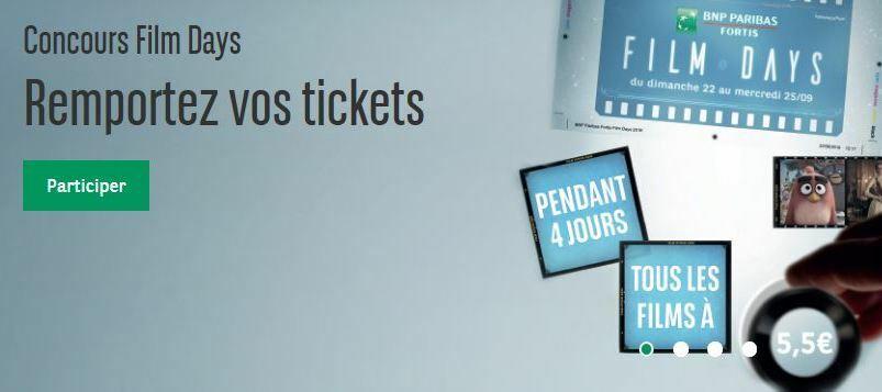 Concours BNP Paribas Fortis Film Days - Tentez votre chance