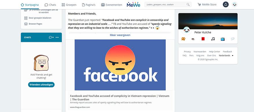 'Waarom niet een alternatief voor Facebook promoten?'