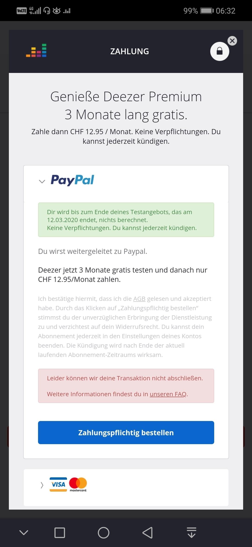 Paypal Abbuchung Fehlgeschlagen