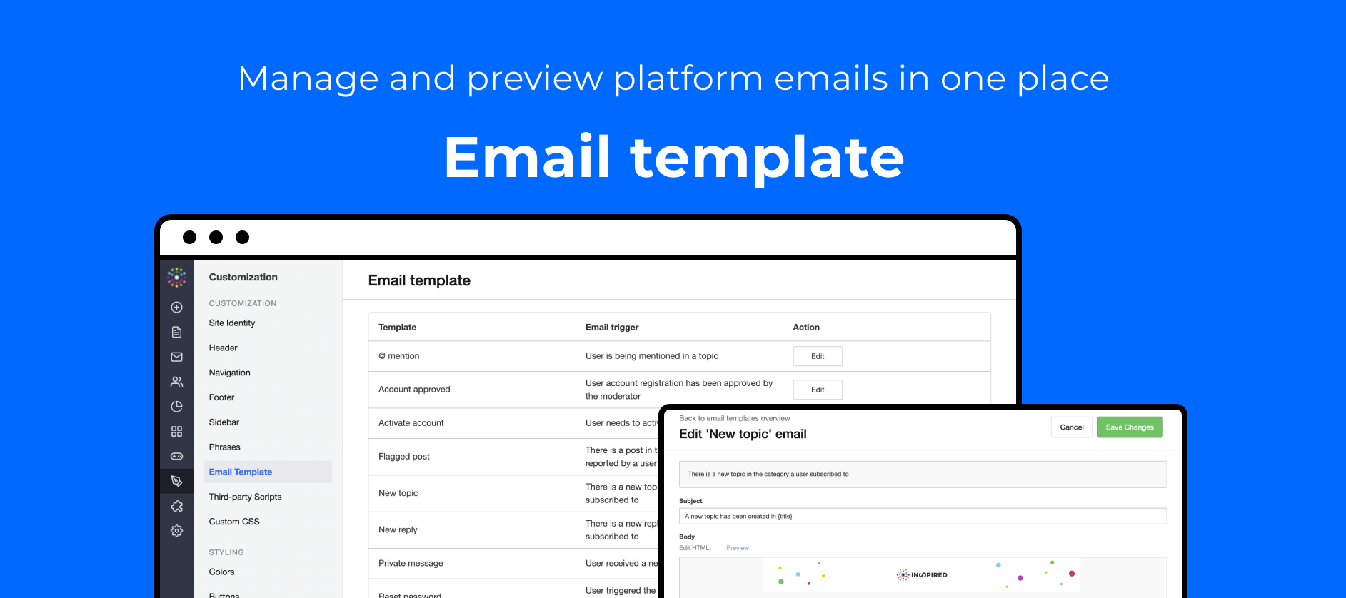 Manage and preview platform emails with our new Email Template overview