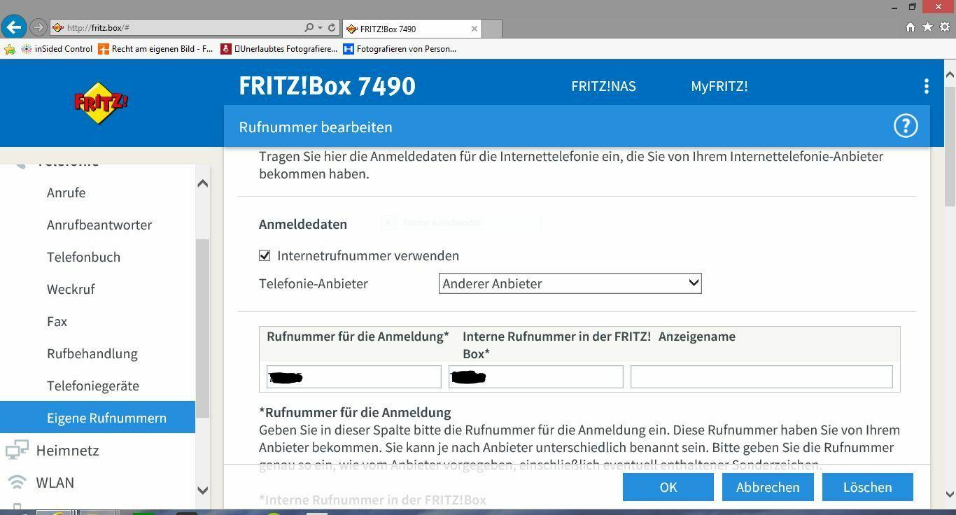 Fremdrouter Fritzbox 8 einrichten (fehlender Telefonieanbieter
