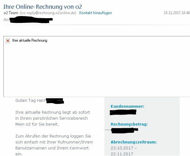 Rechnung O2 Online
