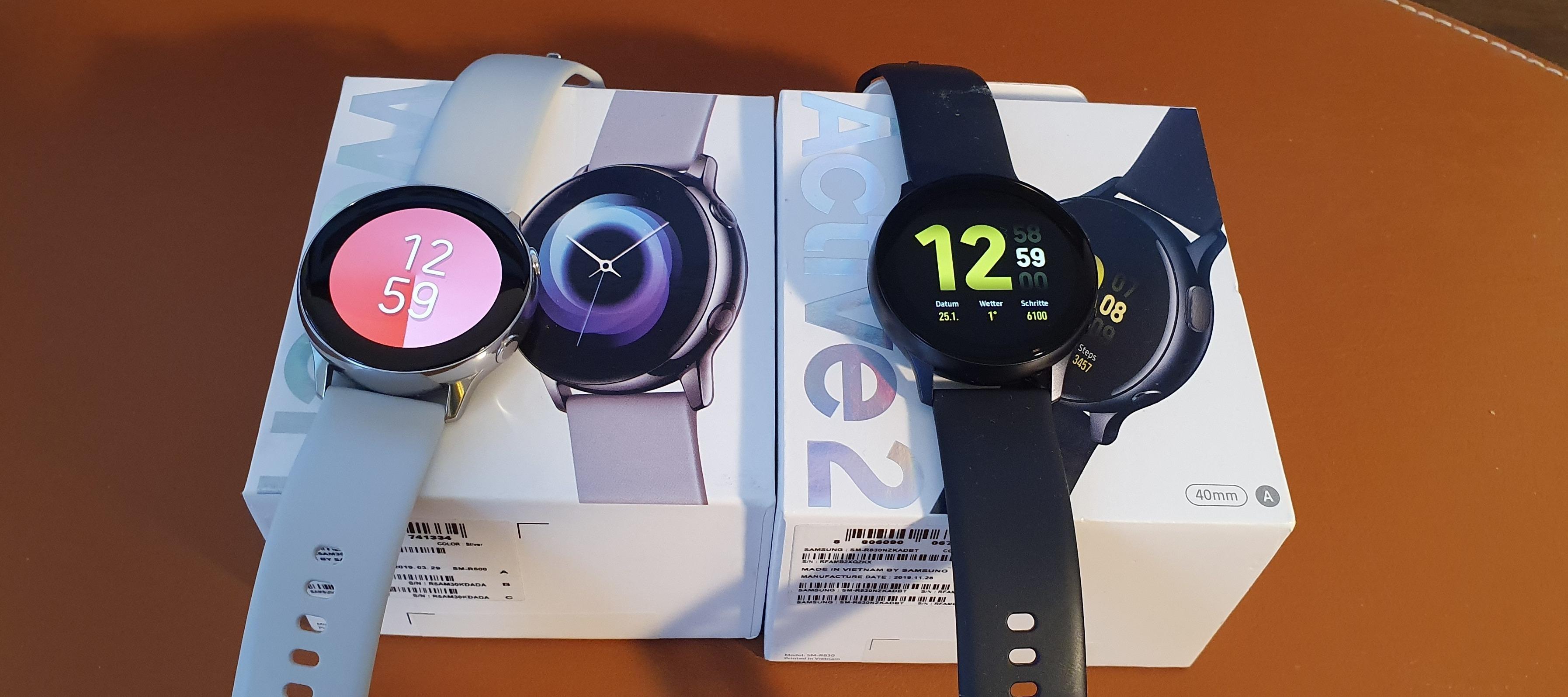 Samsung Galaxy Watch Active 1 versus (vs.) Active 2 - Unterschiede im Detail