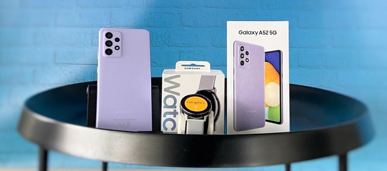 Teste jetzt das attraktive Samsung Bundle: Samsung Galaxy A52 & Samsung Galaxy Watch Active