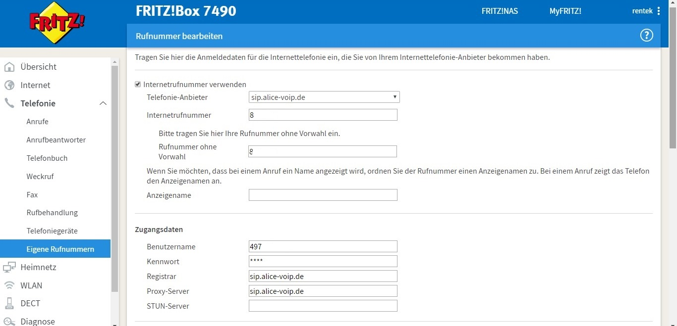 Fritzbox 7490 Rufnummer Nicht Registriert