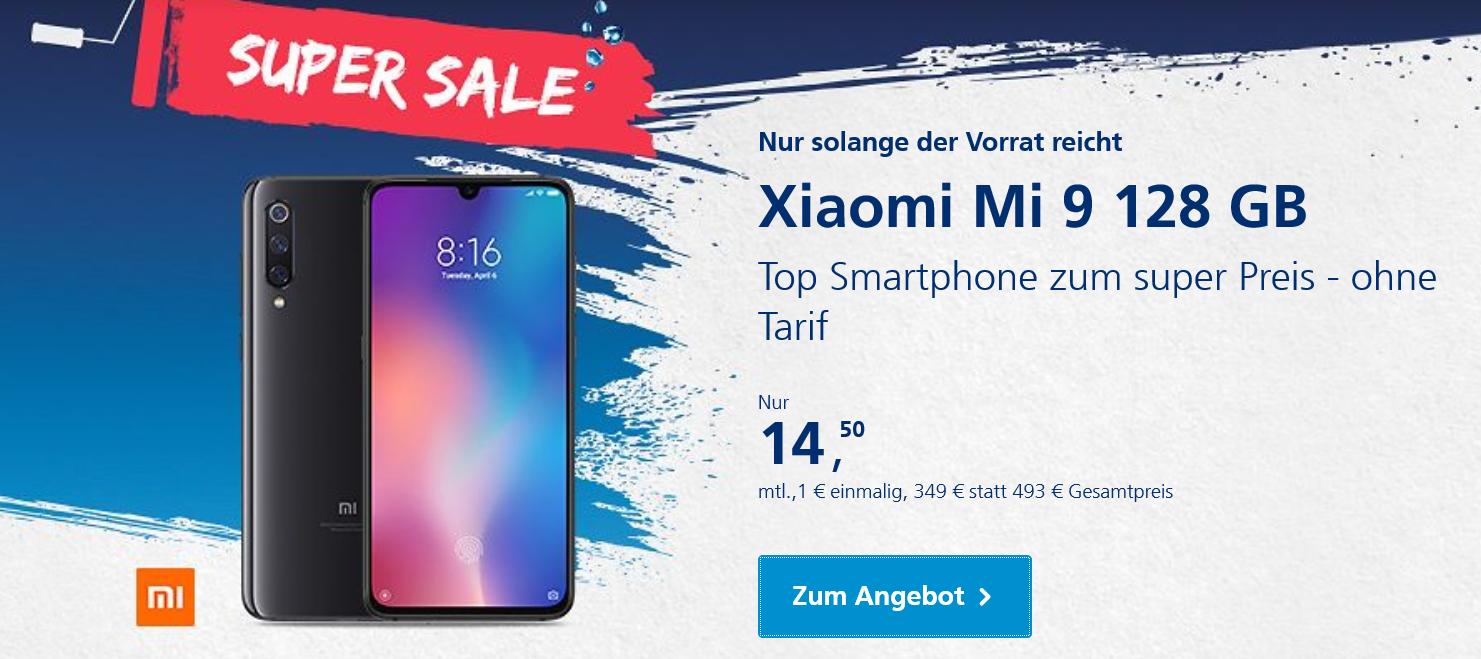 o2 Super Sale: XIAOMI Mi 9 für 349 statt 493 EUR & das XIAOMI Mi 9 SE für 299 statt 397 EUR