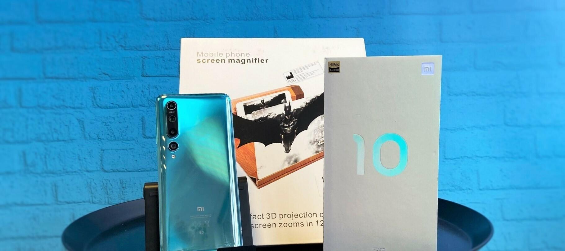 Xiaomi Mi 10 & Mobilephone Screen Magnifier Testgeräte - nimm das Xiaomi unter die Lupe.