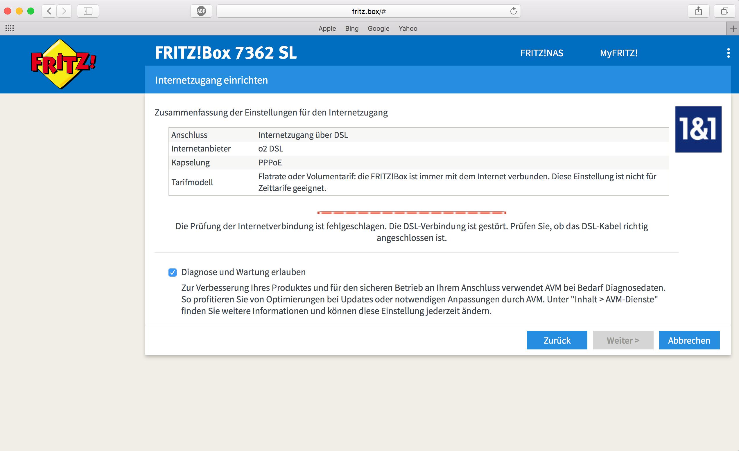 Einrichten der Fritzbox 8 SL schlägt fehl!  O₂ Community