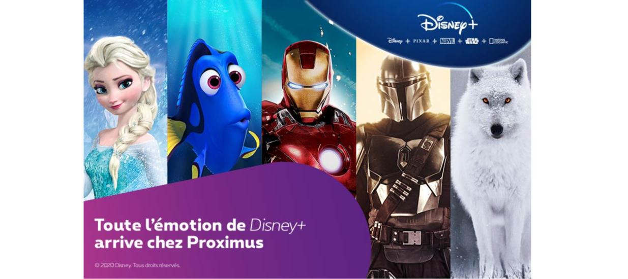 Toute l'émotion de Disney+ arrive chez Proximus