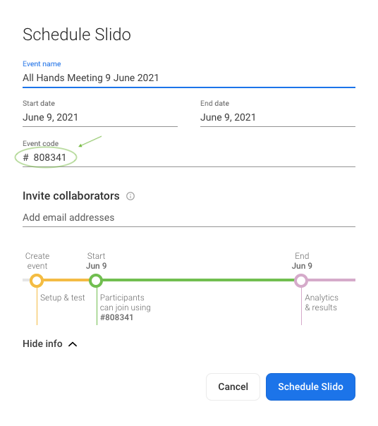 Changing the event code while creating a Slido event